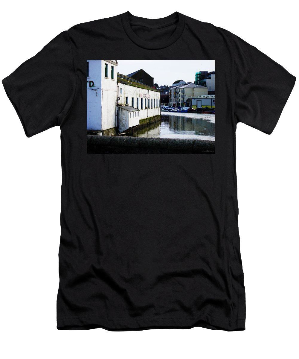River Men's T-Shirt (Athletic Fit) featuring the photograph Waterfront Factory by Tim Nyberg