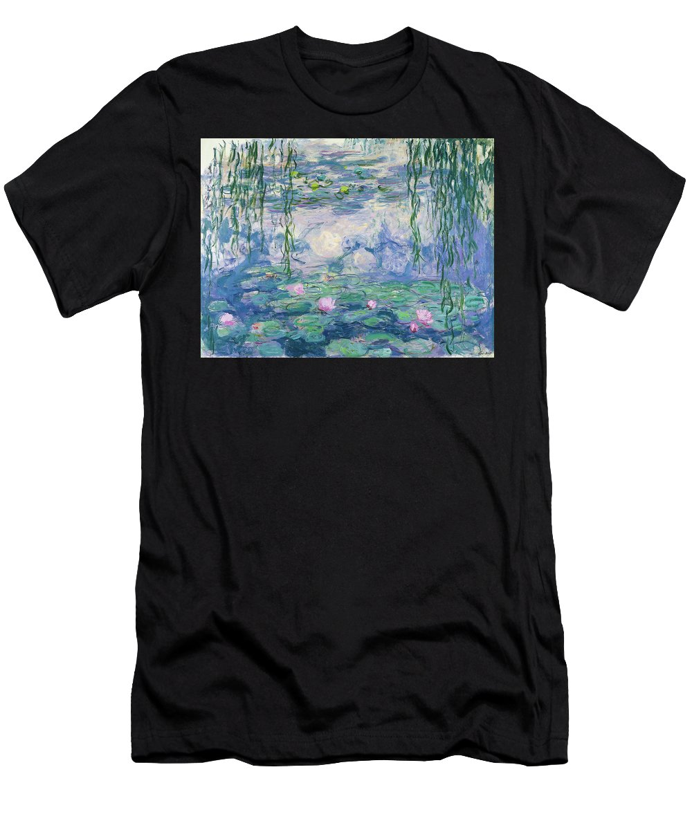 Claude Monet Men's T-Shirt (Athletic Fit) featuring the painting Waterlilies 1916-1919 by Claude Monet
