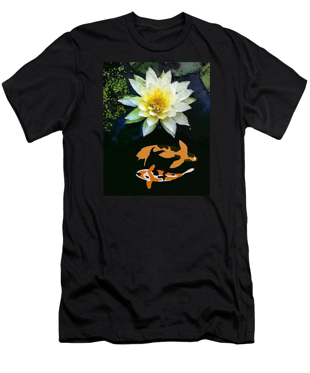 Waterlily And Koi Pond Men's T-Shirt (Athletic Fit) featuring the painting Waterlily And Koi Pond by Priscilla Wolfe