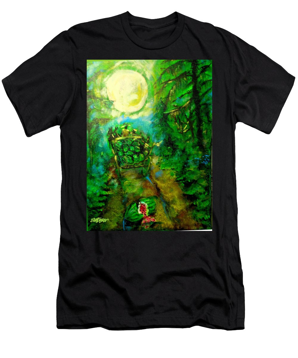 Watermelon Wagon Moon Men's T-Shirt (Athletic Fit) featuring the painting Watermelon Wagon Moon by Seth Weaver