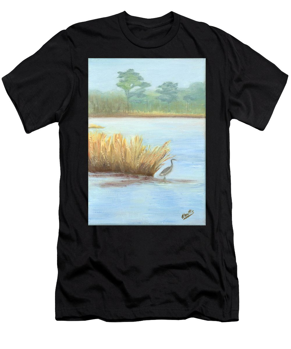 Water Paintings Men's T-Shirt (Athletic Fit) featuring the painting Waterside by Deborah Butts