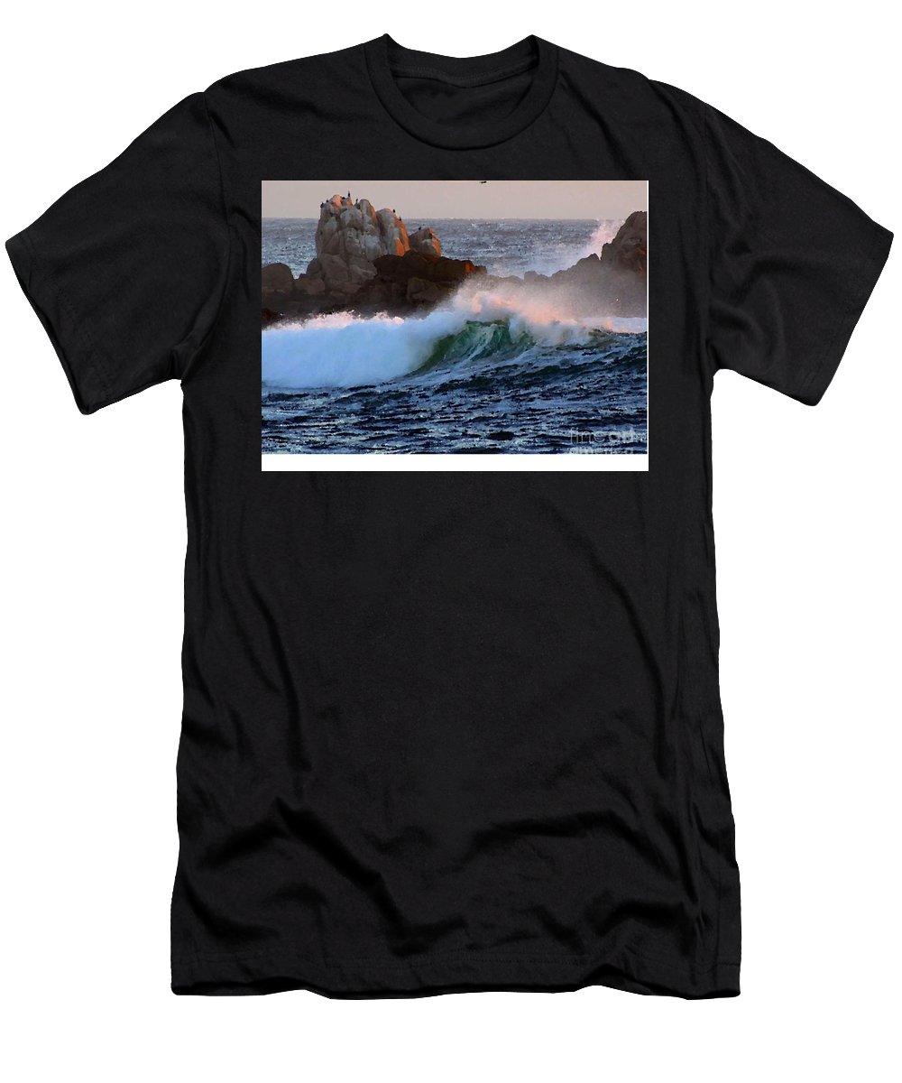 Waves Crash Against The Rocks Men's T-Shirt (Athletic Fit) featuring the painting Waves Crash Against The Rocks by R Muirhead Art