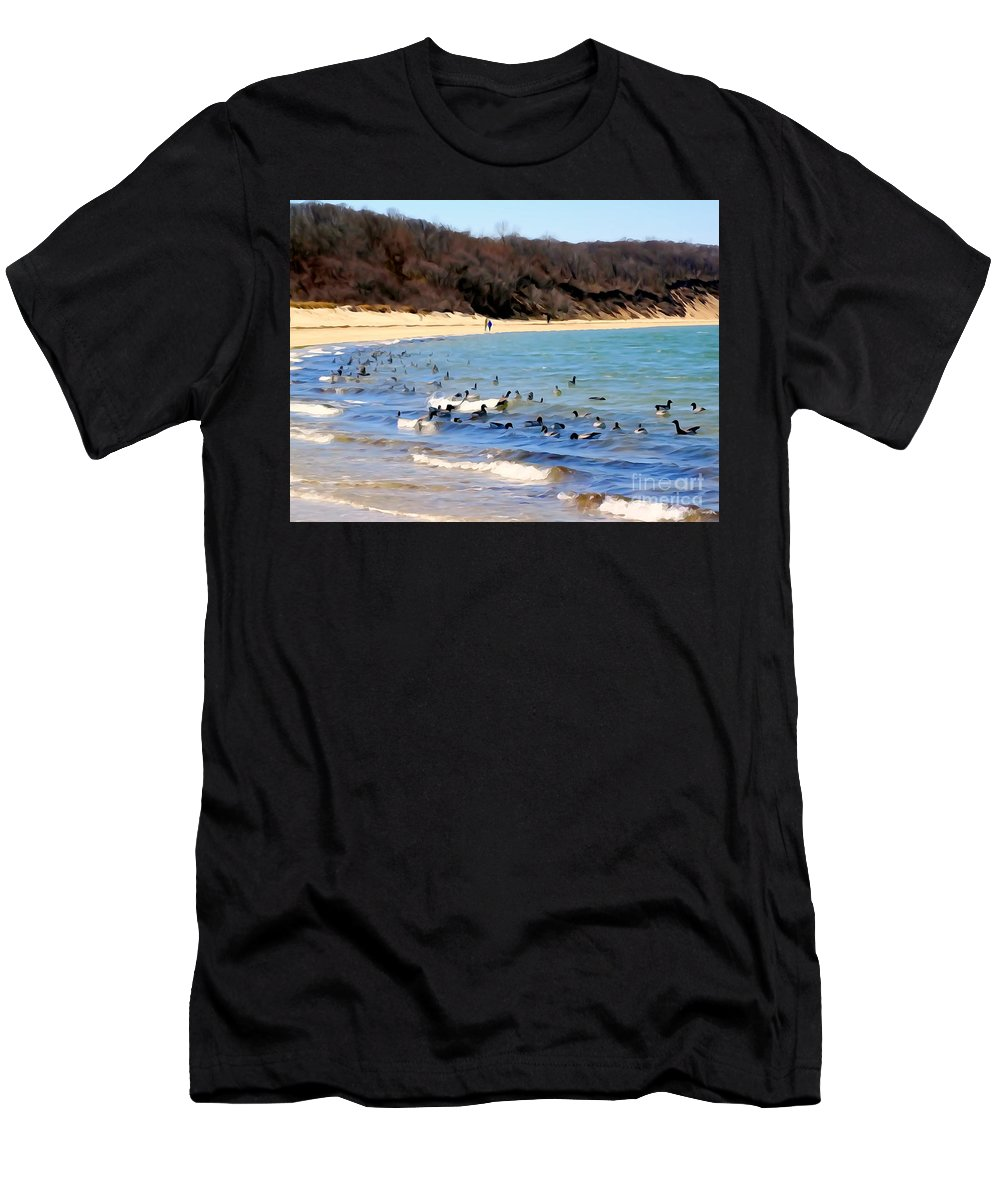 Digital Men's T-Shirt (Athletic Fit) featuring the photograph Waves Of Ducks by Ed Weidman