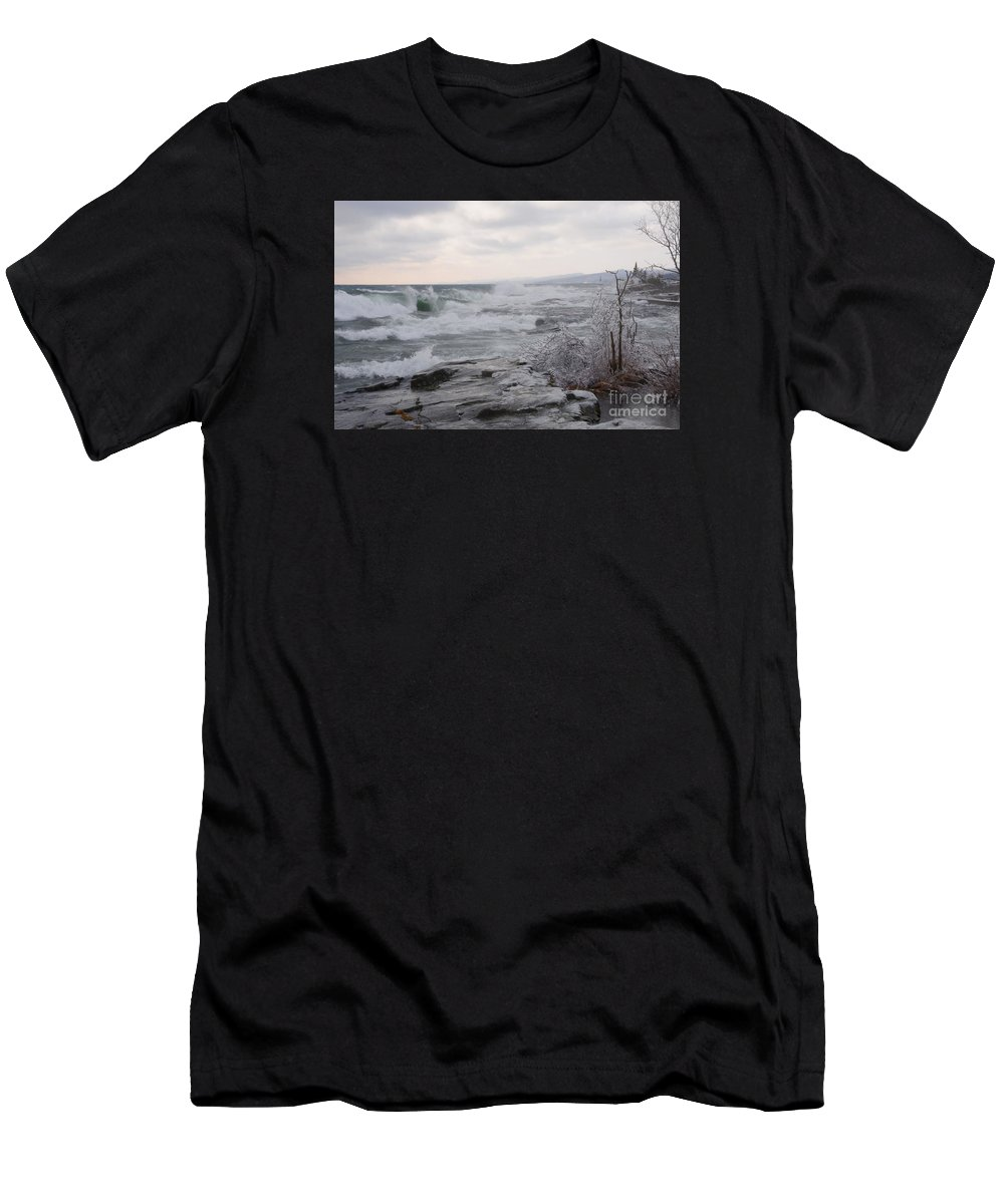 Lake Superior Men's T-Shirt (Athletic Fit) featuring the photograph Waves Of Superior by Sandra Updyke