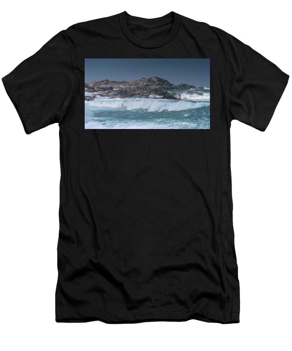 Norway Men's T-Shirt (Athletic Fit) featuring the photograph Waves On A Cloudy Day by Adrian Salcu