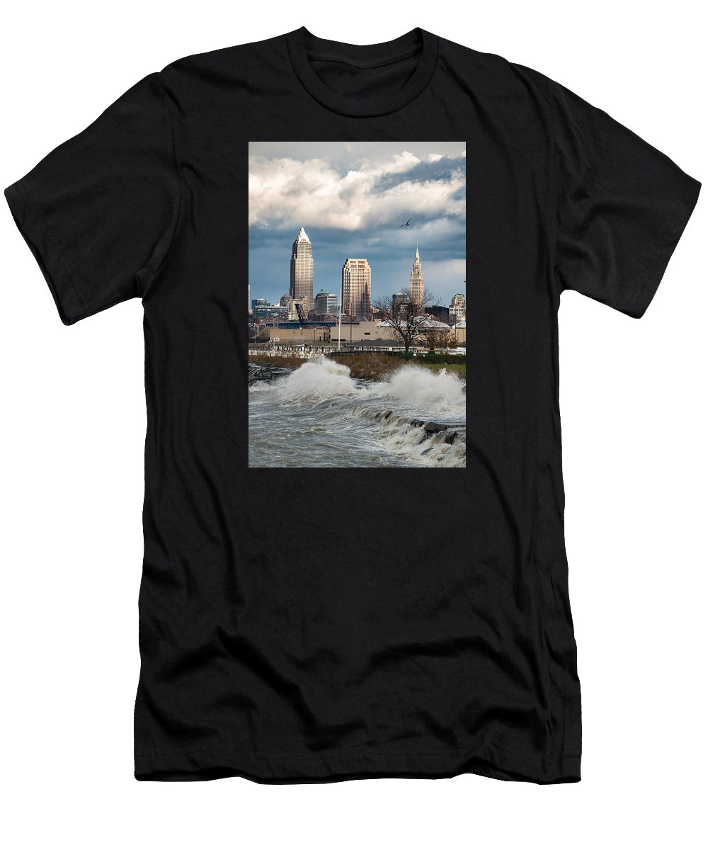Waves Men's T-Shirt (Athletic Fit) featuring the photograph Waves On Cleveland by Brad Hartig - BTH Photography