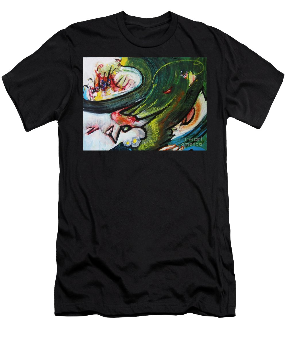 Abstract Paintings Paintings Abstract Art Paintings Men's T-Shirt (Athletic Fit) featuring the painting Waves by Seon-Jeong Kim