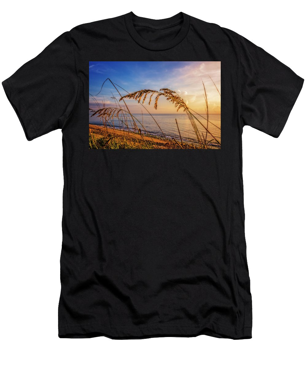 Atlantic Men's T-Shirt (Athletic Fit) featuring the photograph Waving In The Salty Breeze by Debra and Dave Vanderlaan