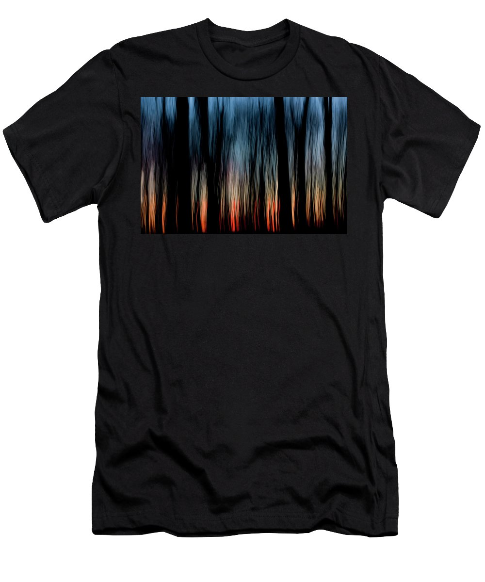 Abstract Men's T-Shirt (Athletic Fit) featuring the photograph Wavy Sunset by Karen Smale