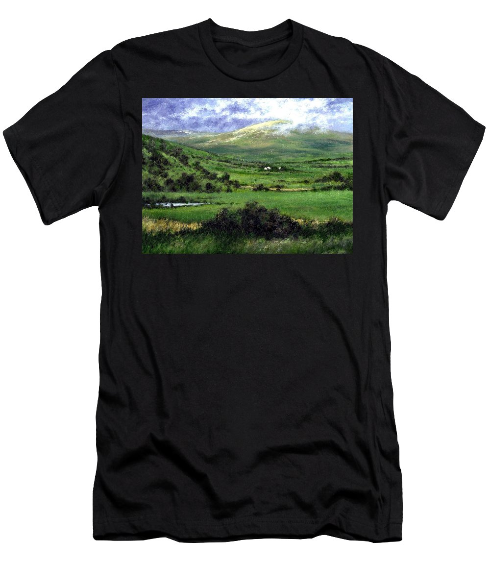 Landcape Men's T-Shirt (Athletic Fit) featuring the painting Way To Ardara Ireland by Jim Gola