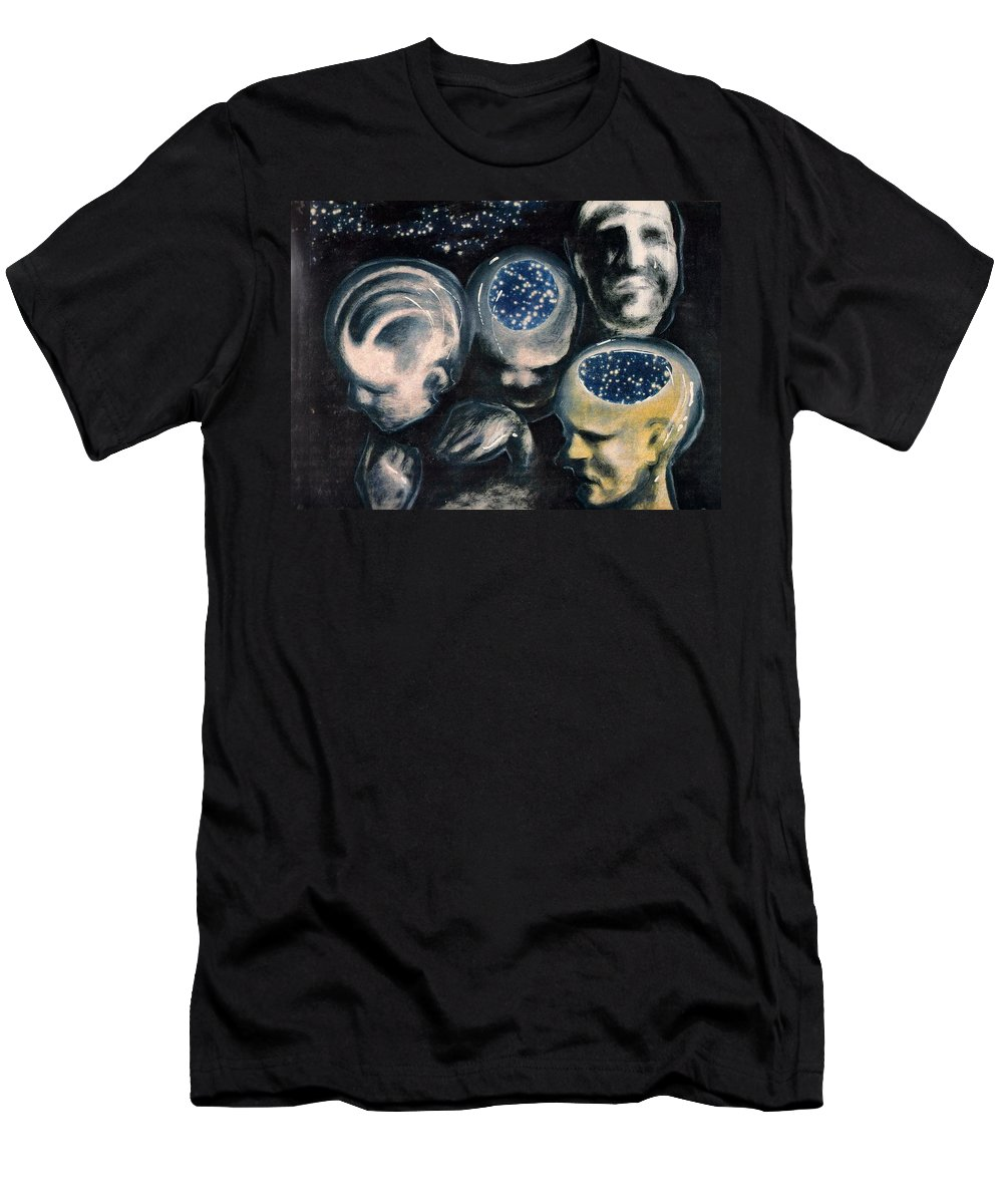 Universe Aura Thoughts Thinking Faces Mistery Men's T-Shirt (Athletic Fit) featuring the mixed media We Are Universe by Veronica Jackson
