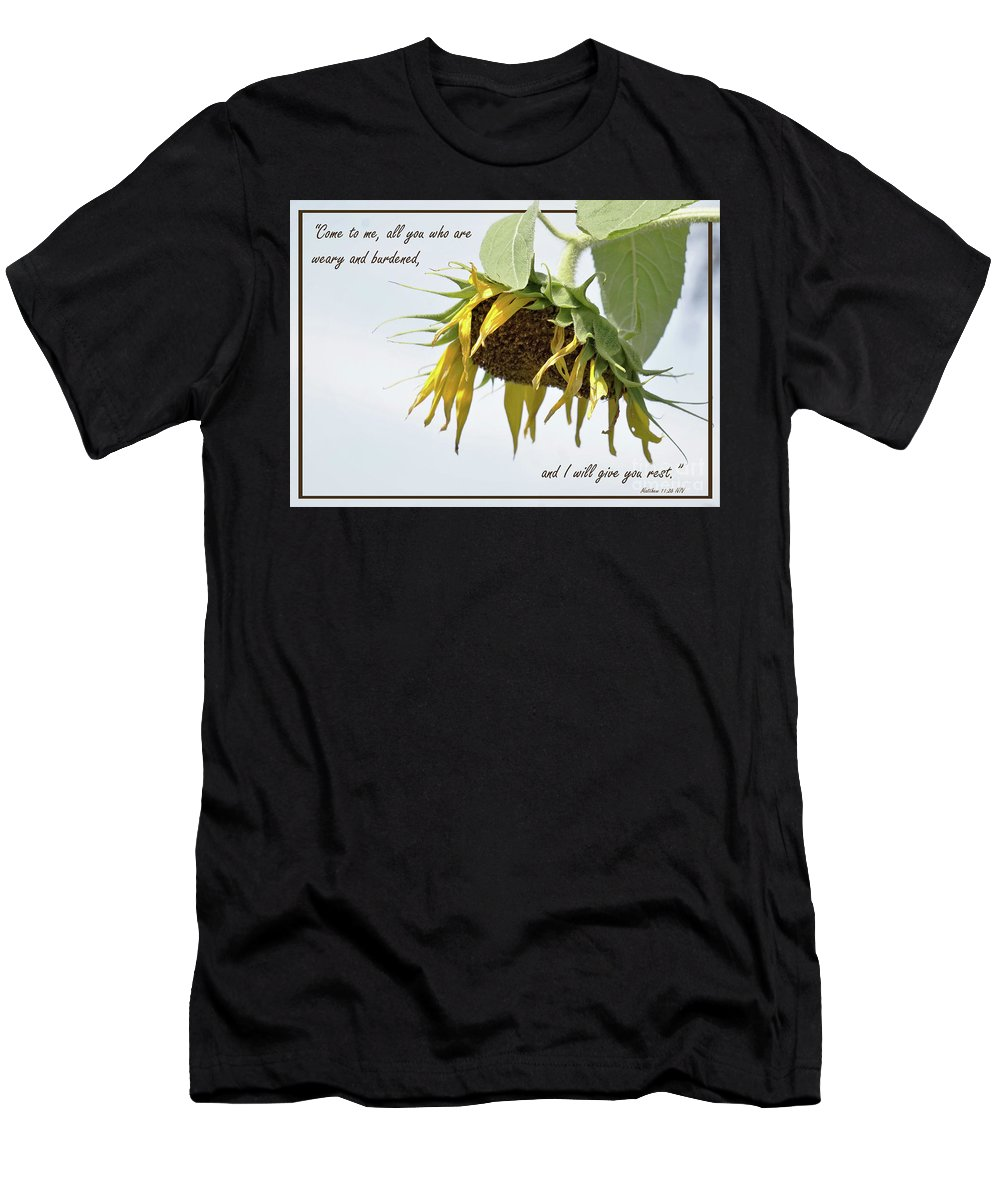 Sunflower Men's T-Shirt (Athletic Fit) featuring the photograph Weary by Karen Beasley