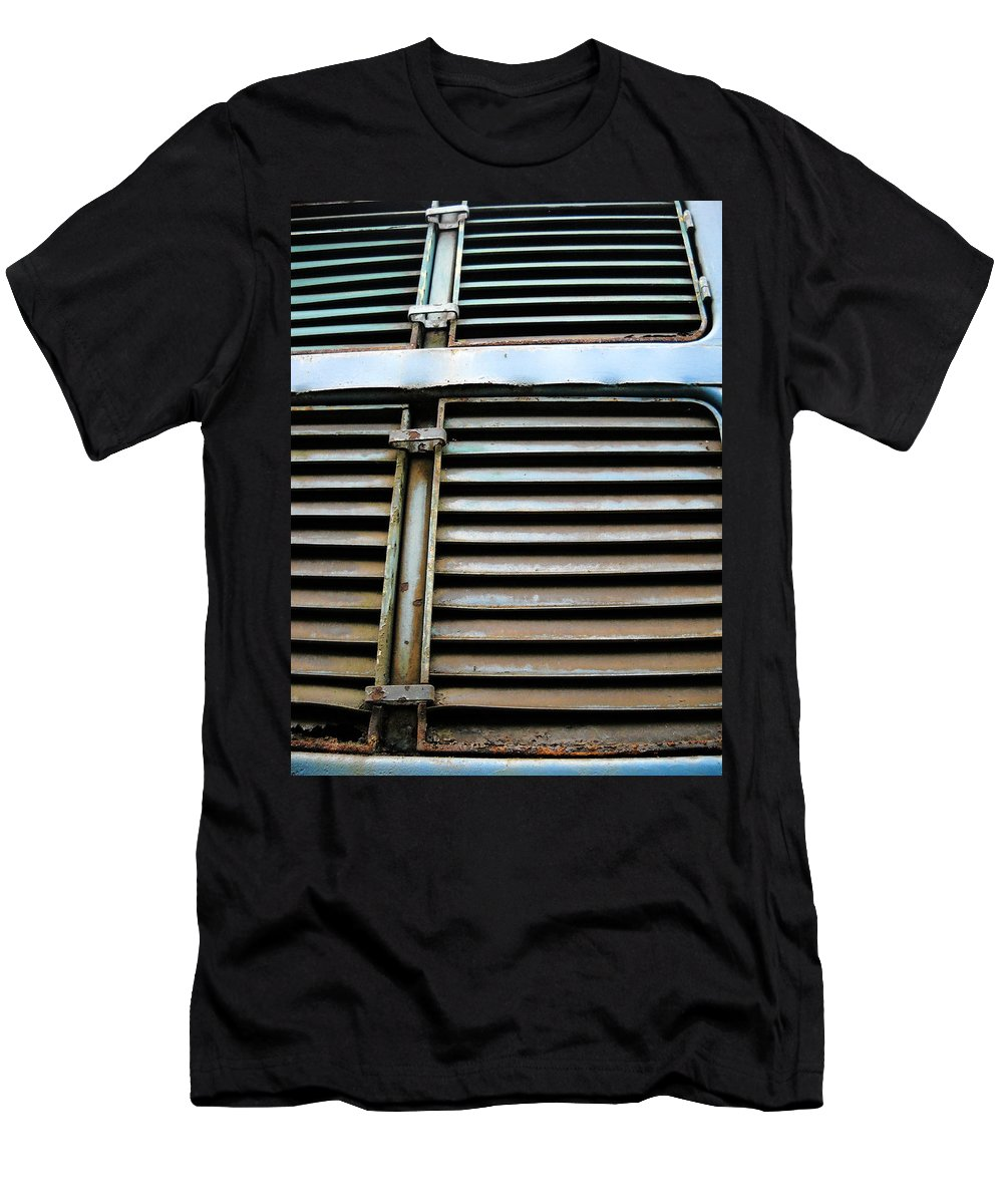 Blue Men's T-Shirt (Athletic Fit) featuring the photograph Weathered Metal by Julia Raddatz
