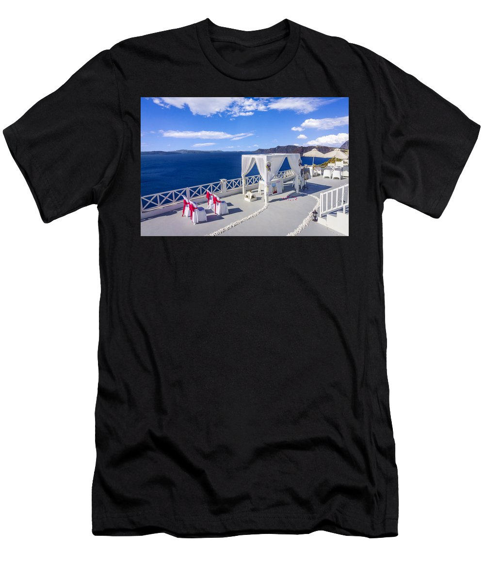 Greece Men's T-Shirt (Athletic Fit) featuring the photograph Wedding On The Greek Isles by Dennis Reyes