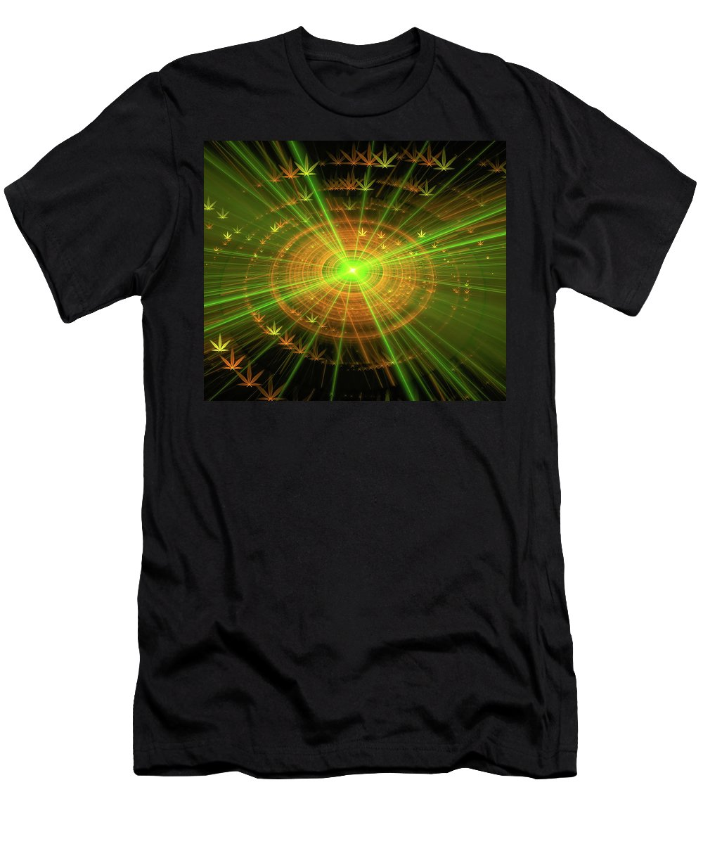 Weed Men's T-Shirt (Athletic Fit) featuring the digital art Weed Art Green And Golden Light Beams by Matthias Hauser