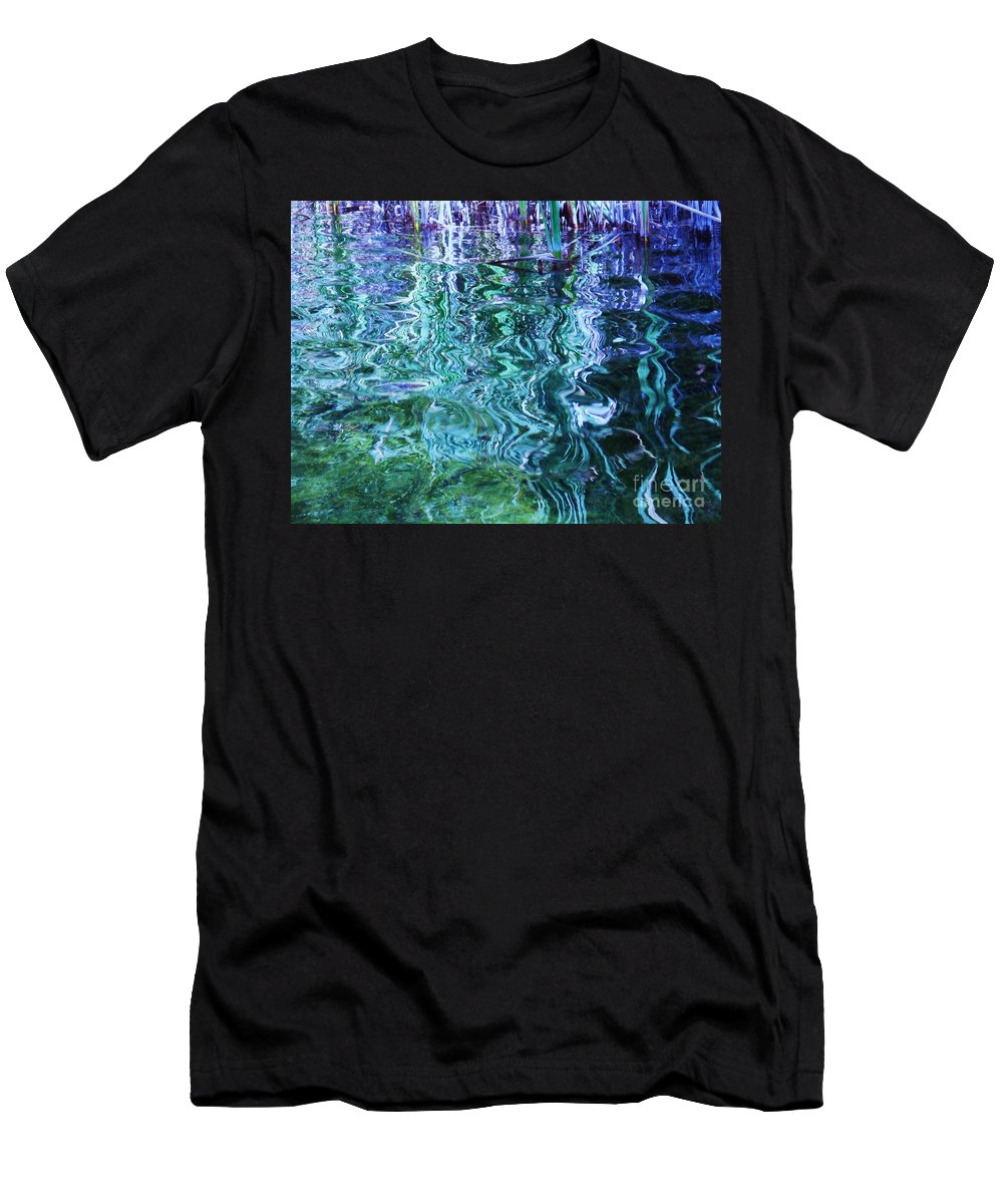 Photograph Blue Green Weed Shadow Lake Water Men's T-Shirt (Athletic Fit) featuring the photograph Weed Shadows by Seon-Jeong Kim
