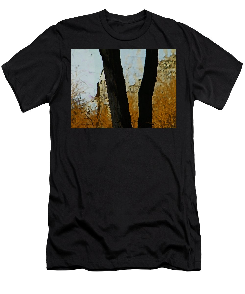 Abstract Men's T-Shirt (Athletic Fit) featuring the digital art Weeds And Wall by Lenore Senior