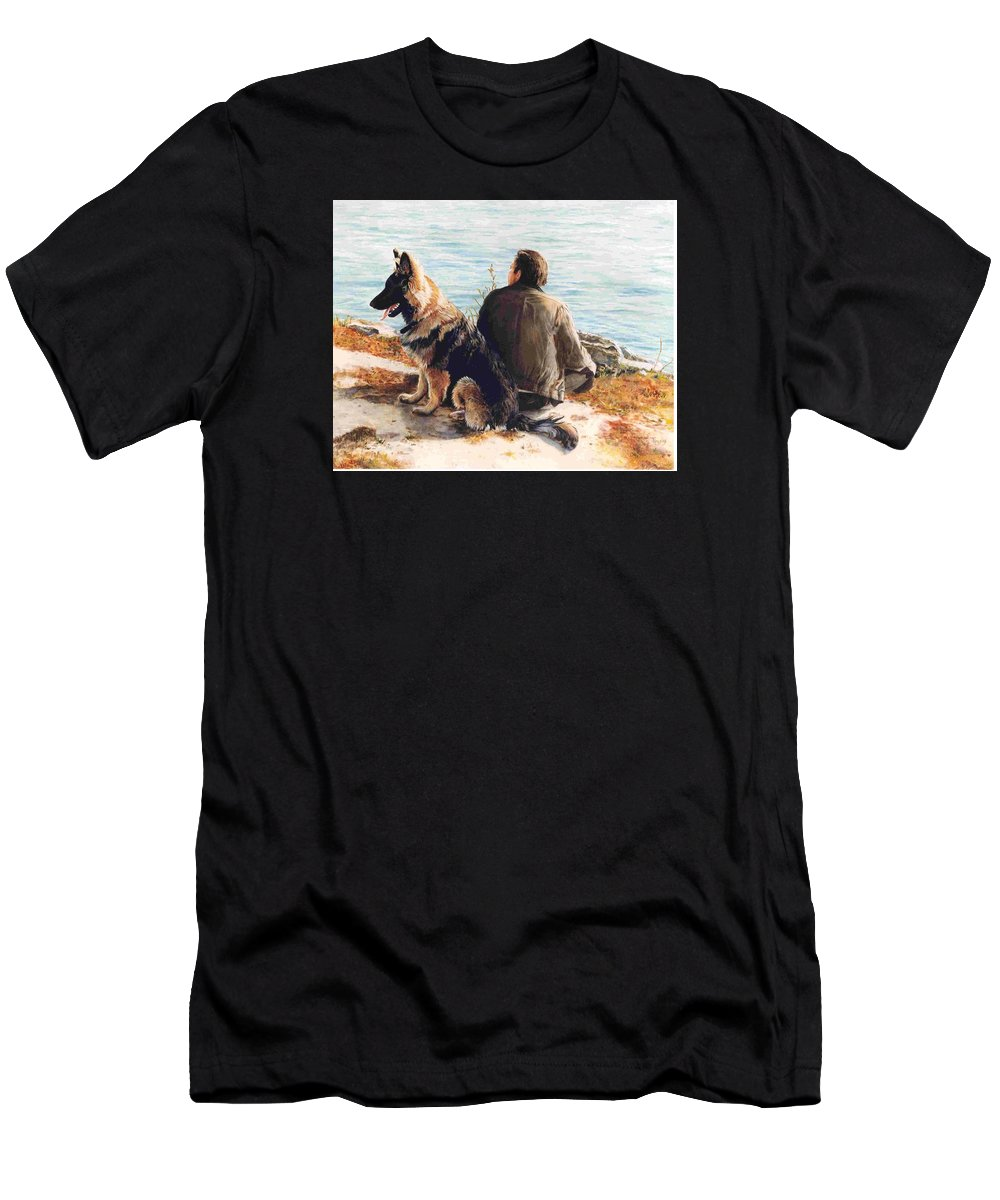 Man And Dog Men's T-Shirt (Athletic Fit) featuring the painting Weekends by Janet Lavida