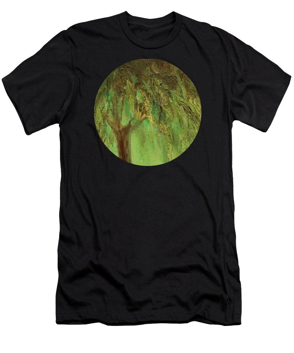 Landscape Men's T-Shirt (Athletic Fit) featuring the painting Weeping Willow by Mary Wolf