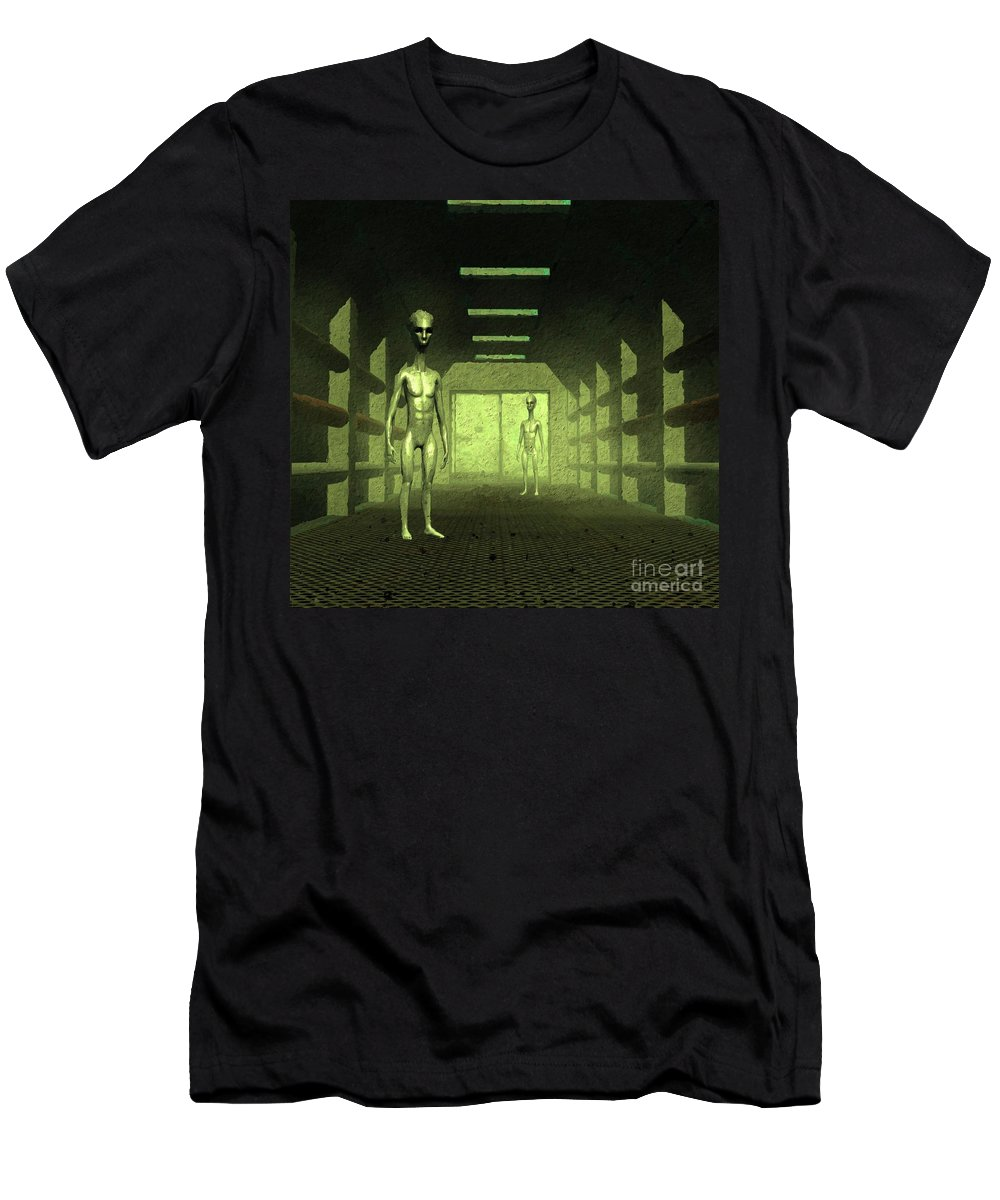 Ufo Men's T-Shirt (Athletic Fit) featuring the painting Welcome Aboard by Raphael Terra