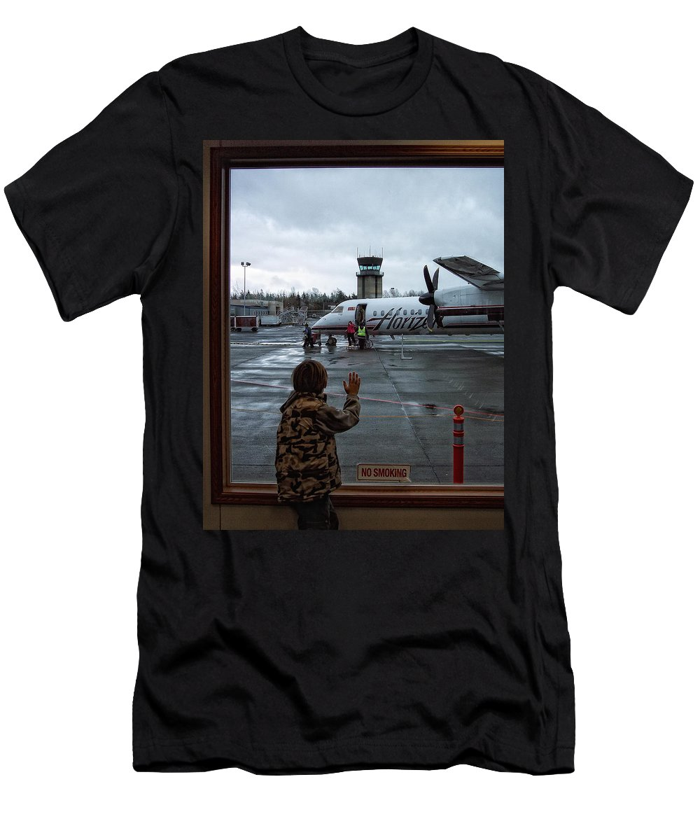 Airplane Men's T-Shirt (Athletic Fit) featuring the photograph Welcome Home by Donna Blackhall