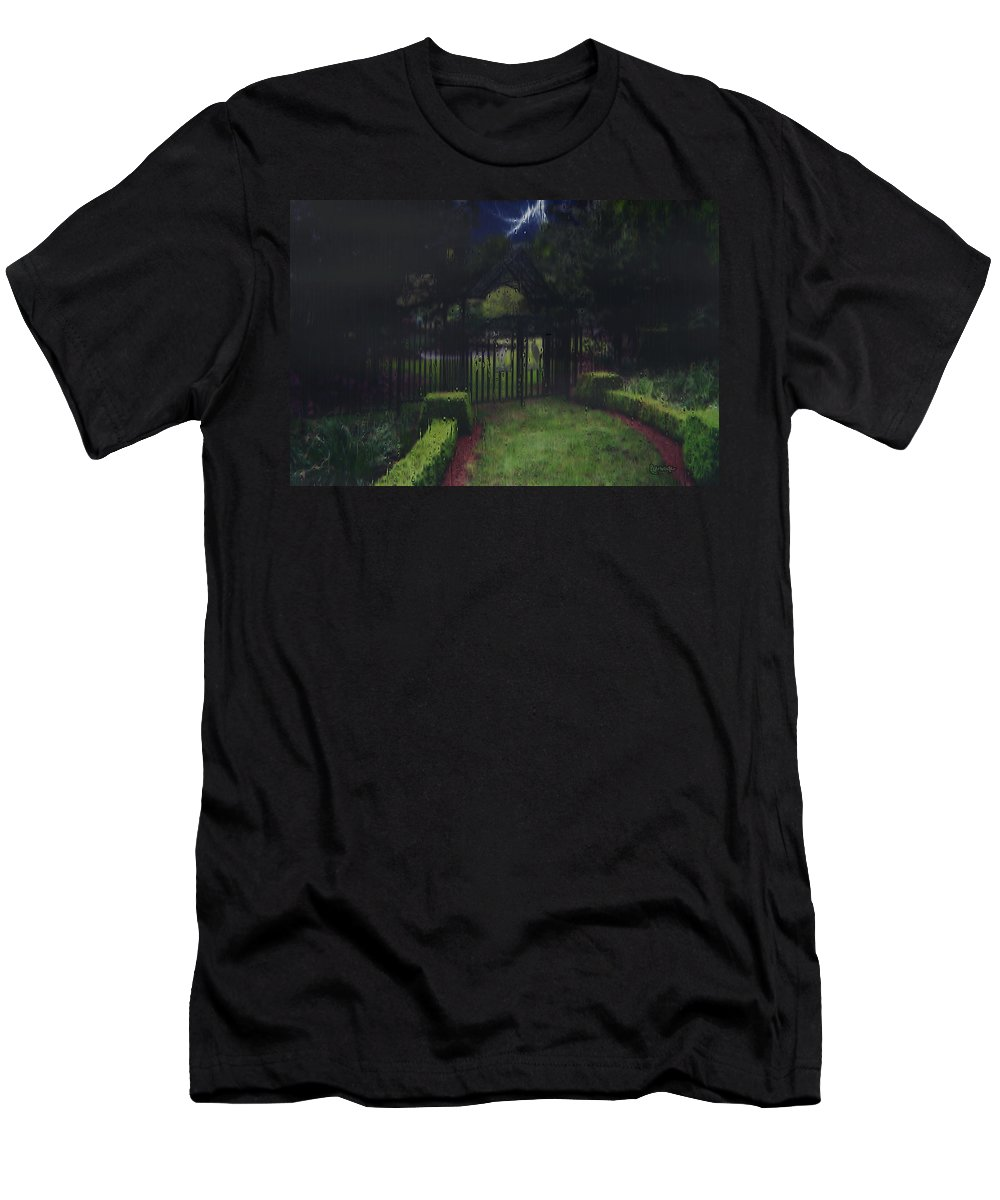 Landscape Men's T-Shirt (Athletic Fit) featuring the painting Welcome To Dudleytown by RC deWinter