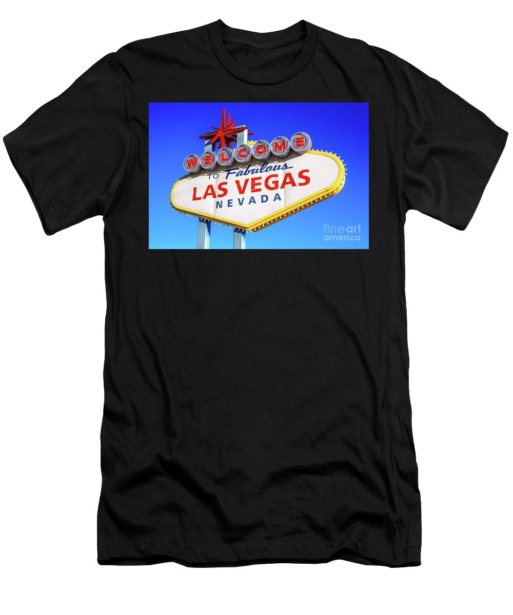 Welcome To Las Vegas Sign Boulder Highway Men's T-Shirt (Athletic Fit) featuring the photograph Welcome To Las Vegas Sign Only Boulder Highway Day by Aloha Art