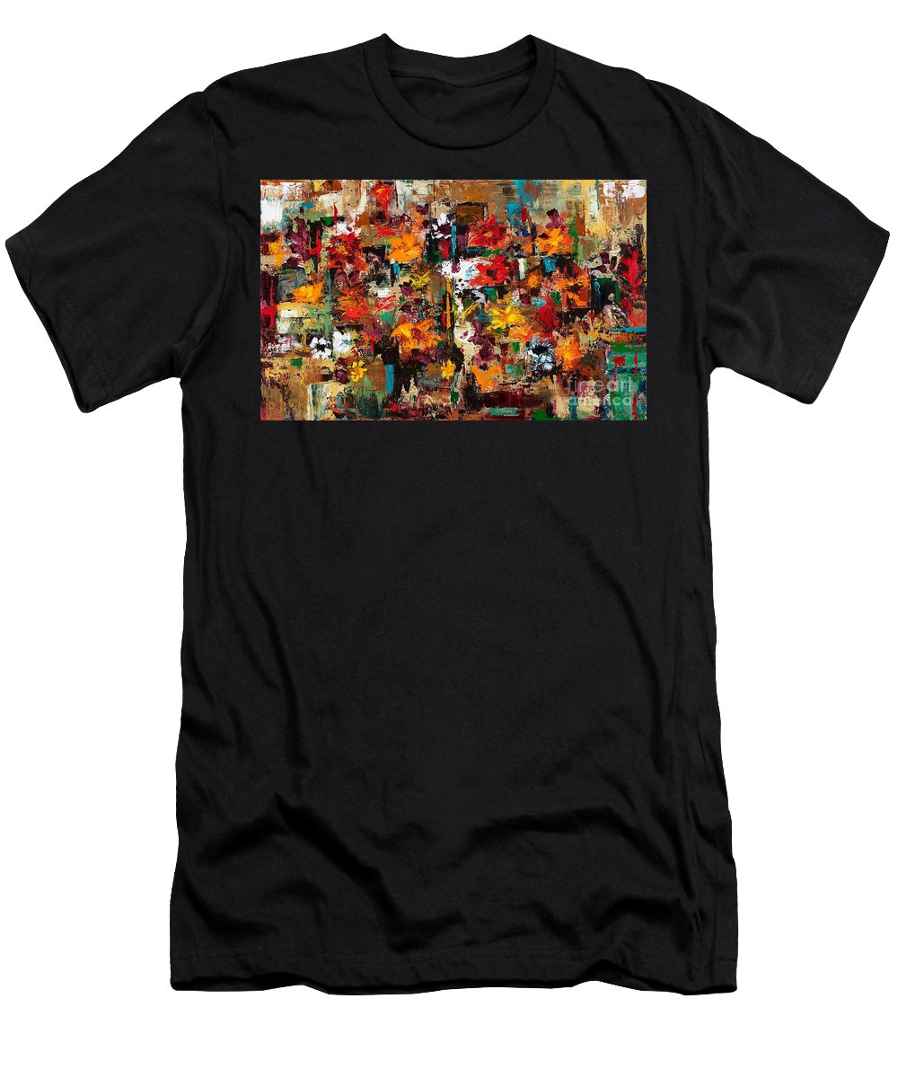 Abstract Flowers Men's T-Shirt (Athletic Fit) featuring the painting Welcome To My Flower Garden by Frances Marino