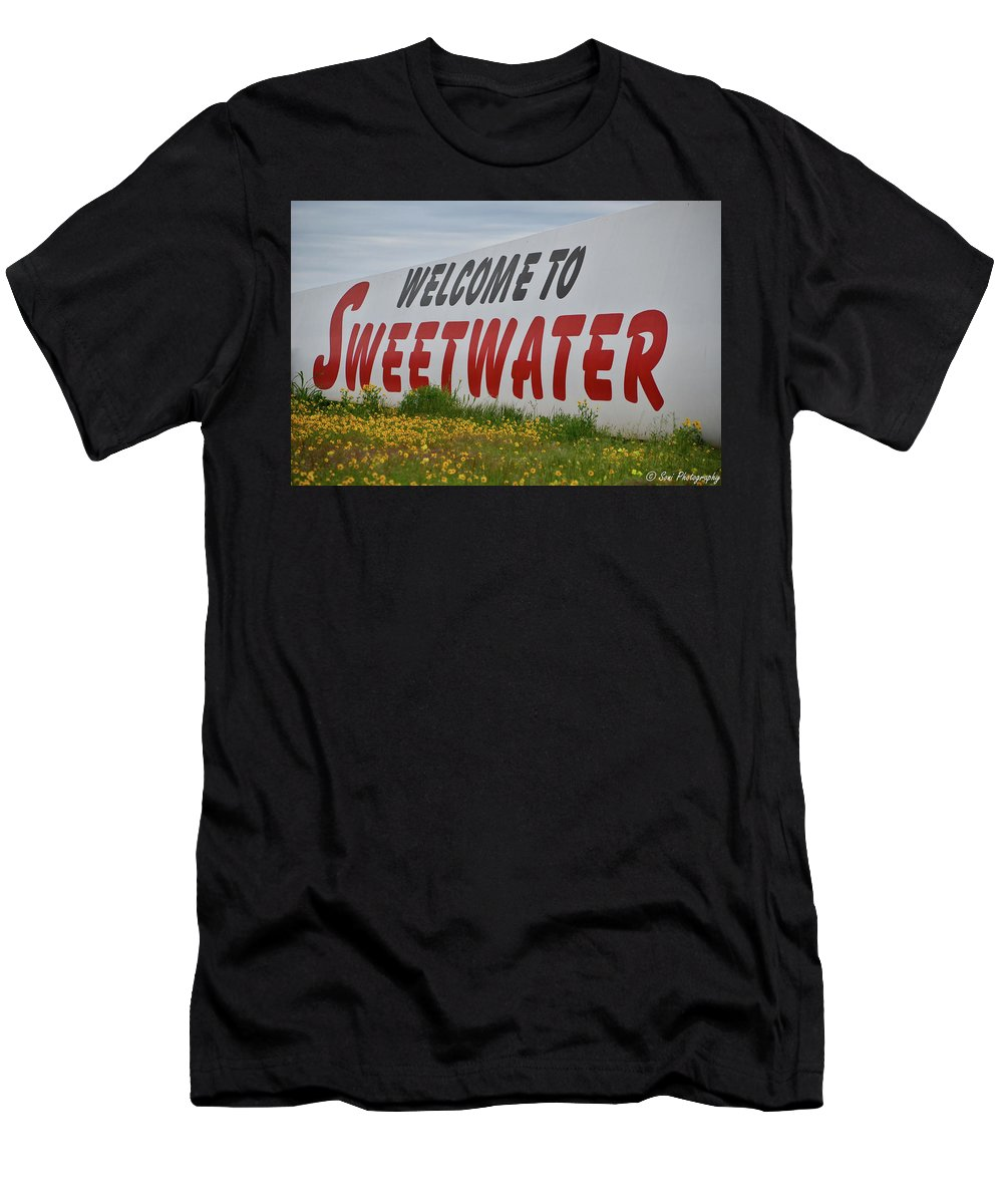 Sweetwater Sign Men's T-Shirt (Athletic Fit) featuring the photograph Welcome To Sweetwater by Soni Macy