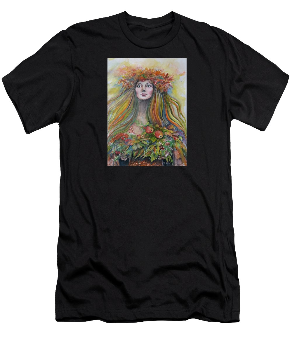 Autumn Men's T-Shirt (Athletic Fit) featuring the painting Welcome To Autumn by Rita Fetisov