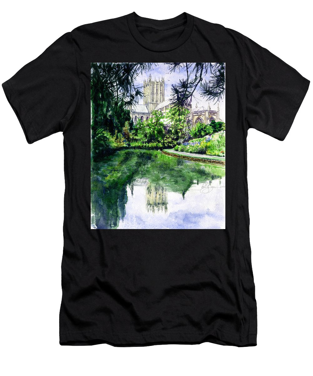 Wells Men's T-Shirt (Athletic Fit) featuring the painting Wells Cathedral by John D Benson