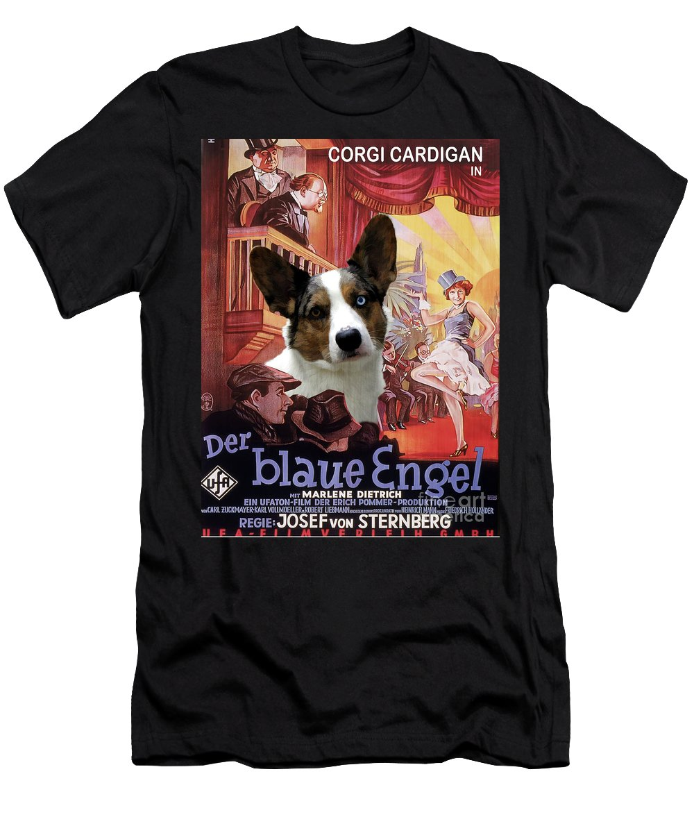 Welsh Corgi Cardigan T-Shirt featuring the painting Welsh Corgi Cardigan Art Canvas Print - Der Blaue Engel Movie Poster by Sandra Sij