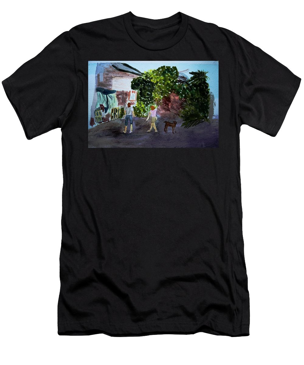 Landscapes Men's T-Shirt (Athletic Fit) featuring the painting West End Shopping by Donna Walsh