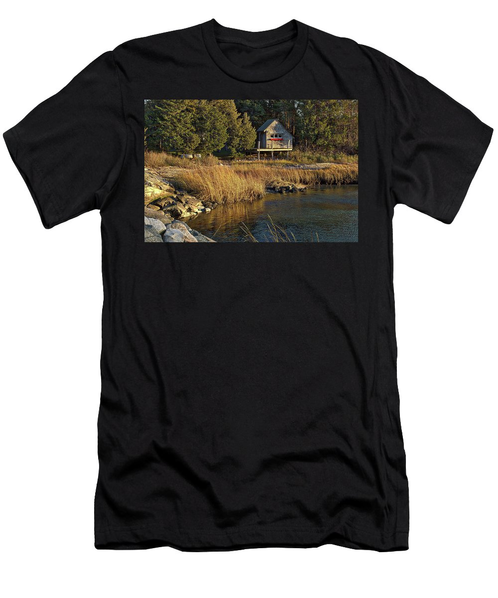 Cape Cod Men's T-Shirt (Athletic Fit) featuring the photograph West Falmouth Boathouse by Frank Fernino