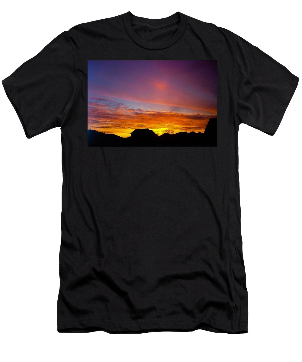 Sunset Men's T-Shirt (Athletic Fit) featuring the photograph West Point Sunset by Lindsay Lovins