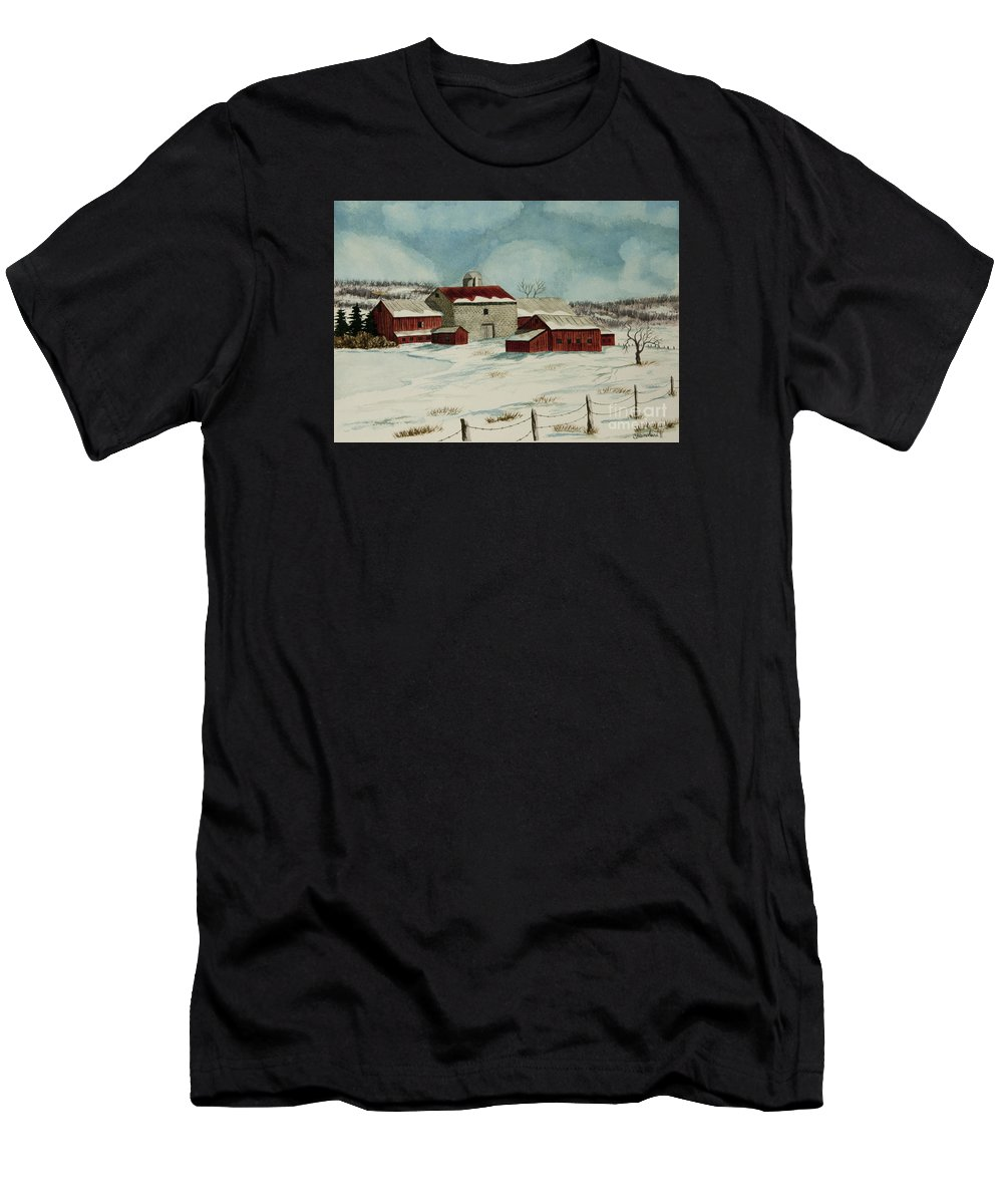 Winter Scene Paintings Men's T-Shirt (Athletic Fit) featuring the painting West Winfield Farm by Charlotte Blanchard