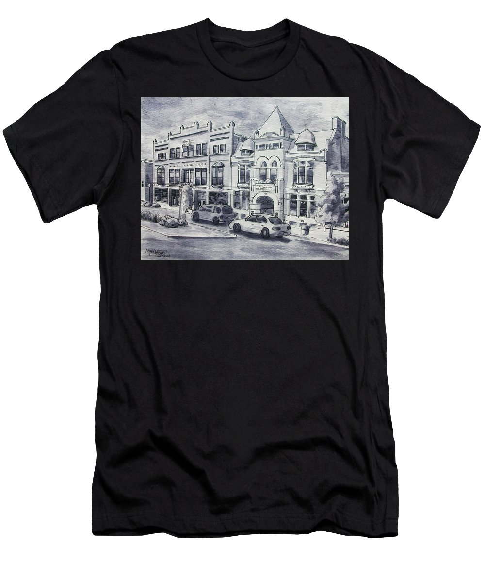 Art & Collectibles Drawing & Illustration Pen & Ink Century Club Russell Block Architecture Shop Together Rising Muskegon Michigan Historic Building Streetscape Victorian Building Western Avenue Downtown Street Modern Home Decor Memories Of Home Men's T-Shirt (Athletic Fit) featuring the painting Western Avenue In Muskegon, Michigan by Mike Kraus