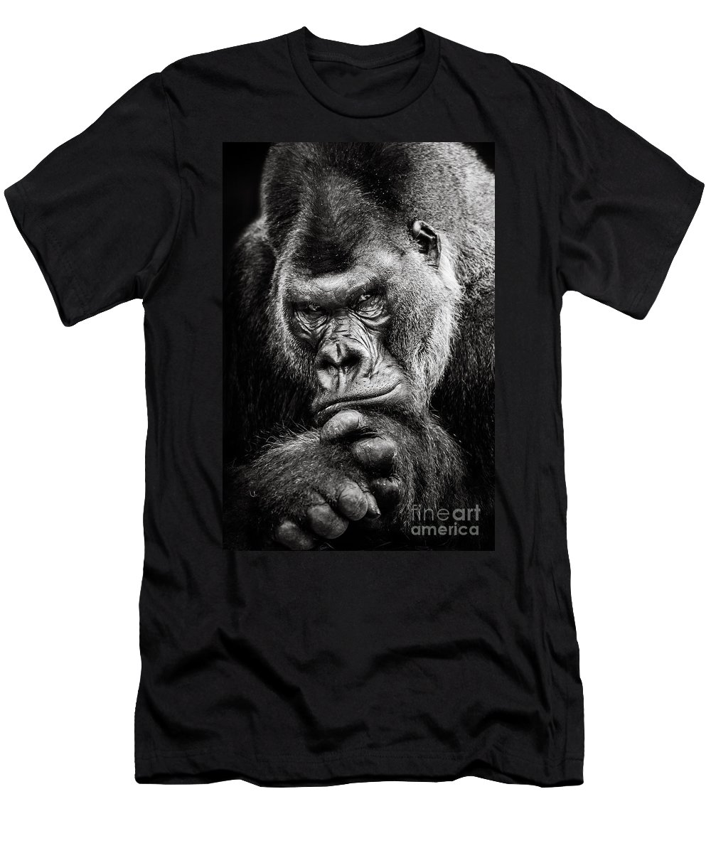 Animal Men's T-Shirt (Athletic Fit) featuring the photograph Western Lowland Gorilla Bw II by Abeselom Zerit