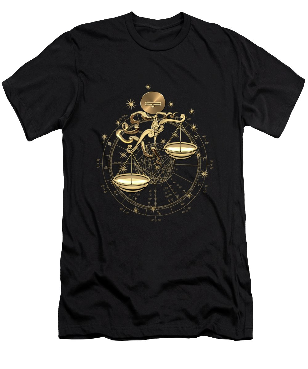 'zodiac' Collection By Serge Averbukh T-Shirt featuring the digital art Western Zodiac - Golden Libra -the Scales On Black Canvas by Serge Averbukh
