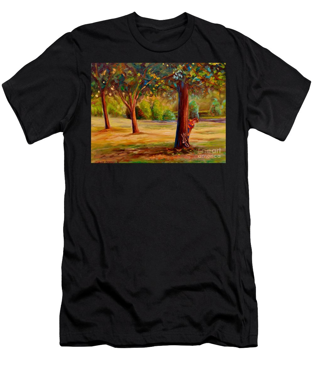 Montreal Men's T-Shirt (Athletic Fit) featuring the painting Westmount Park Montreal by Carole Spandau
