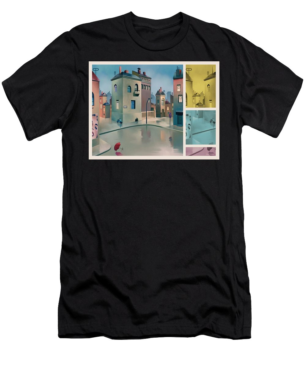 Town Men's T-Shirt (Athletic Fit) featuring the painting Wet Town by Udo Linke