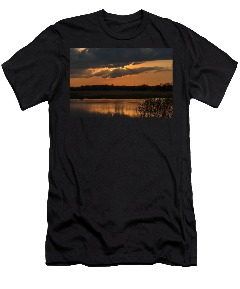 Sunset Men's T-Shirt (Athletic Fit) featuring the photograph Wetland Sunset by Robert Coffey
