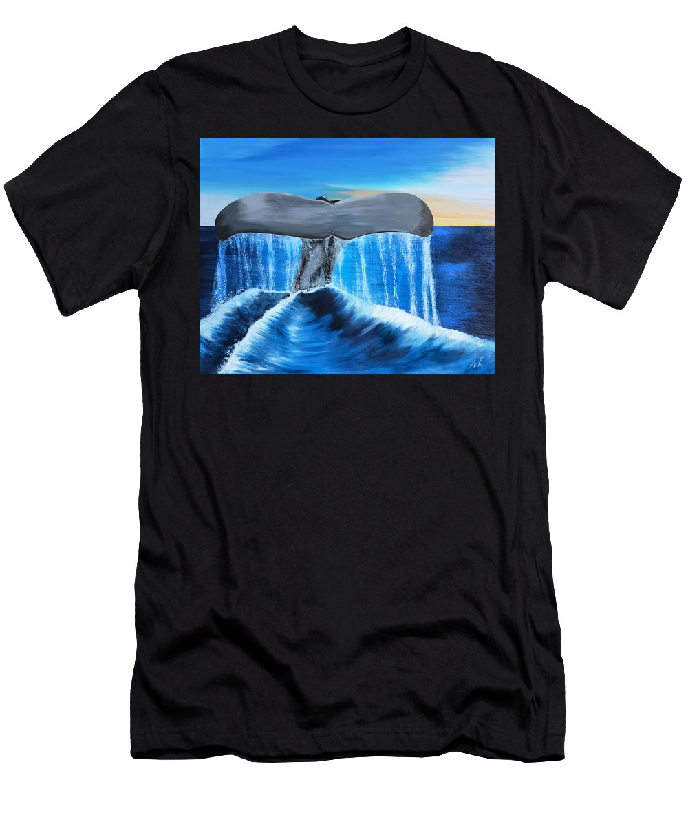 Men's T-Shirt (Athletic Fit) featuring the painting Whale Tail by Albert Kopper