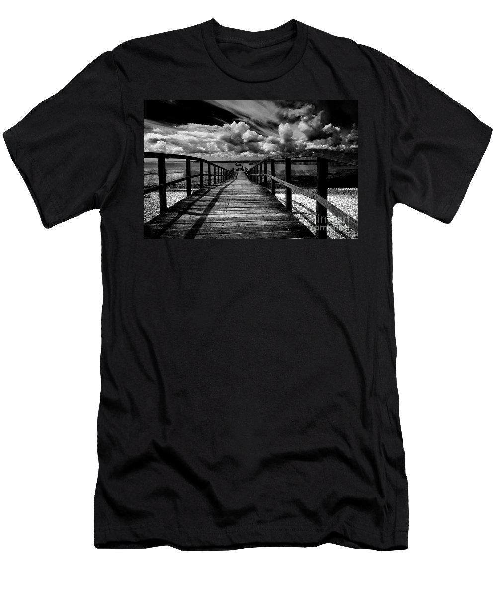 Southend On Sea Wharf Clouds Beach Sand Men's T-Shirt (Athletic Fit) featuring the photograph Wharf At Southend On Sea by Sheila Smart Fine Art Photography