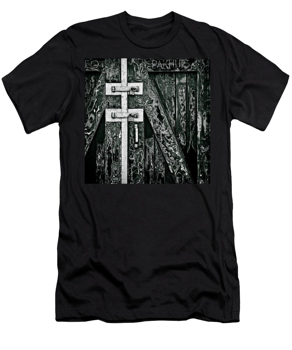 Old Door Men's T-Shirt (Athletic Fit) featuring the photograph What Once Was Green... by Dave Bowman
