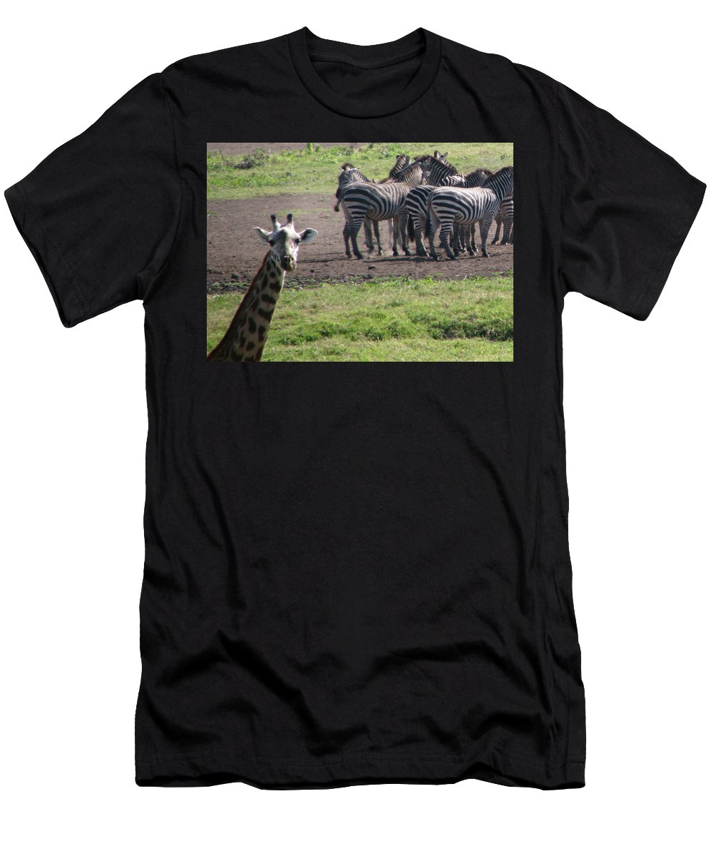 Giraffe Africa Tanzania Funny Men's T-Shirt (Athletic Fit) featuring the photograph What You Say by Diane Barone