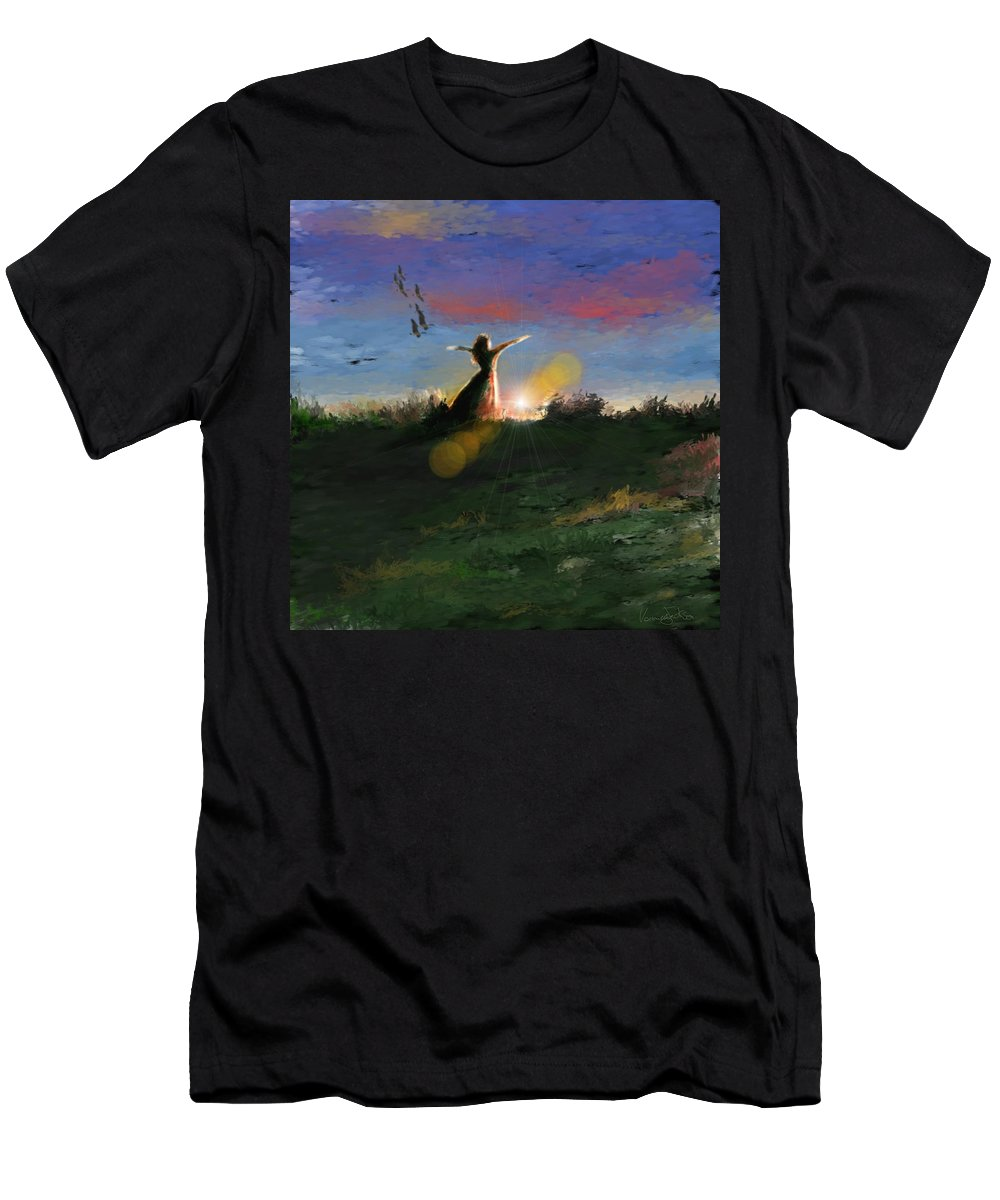 Morning Sunrise Star Woman Nature Sky Clouds Men's T-Shirt (Athletic Fit) featuring the mixed media What's The Story Morning Glory by Veronica Jackson