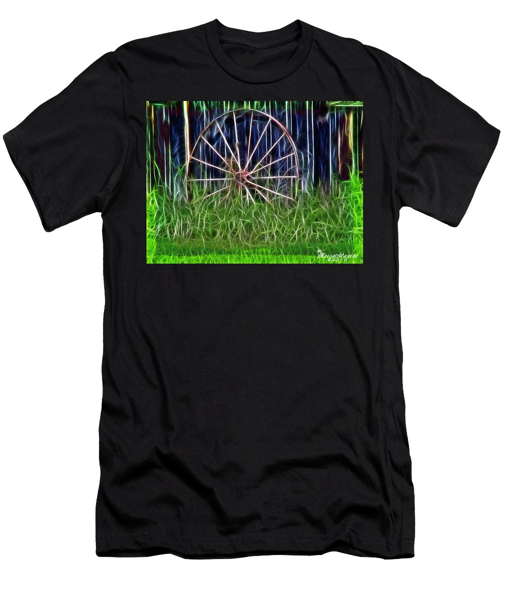 Farm Men's T-Shirt (Athletic Fit) featuring the photograph Wheel Of Fortune by Ericamaxine Price