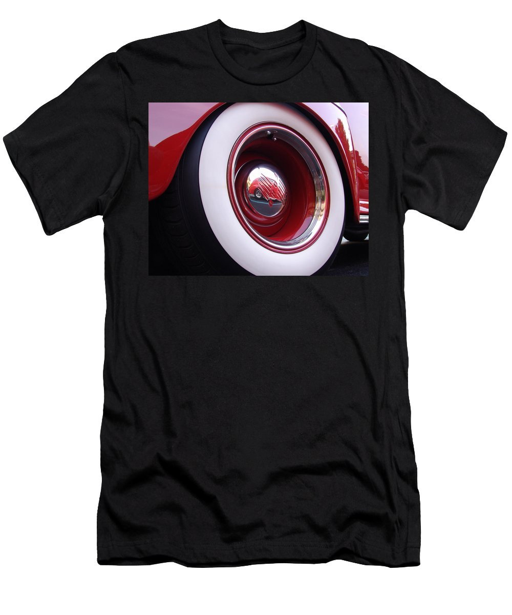 Classic Car Men's T-Shirt (Athletic Fit) featuring the photograph Wheel Reflection by Carol Milisen