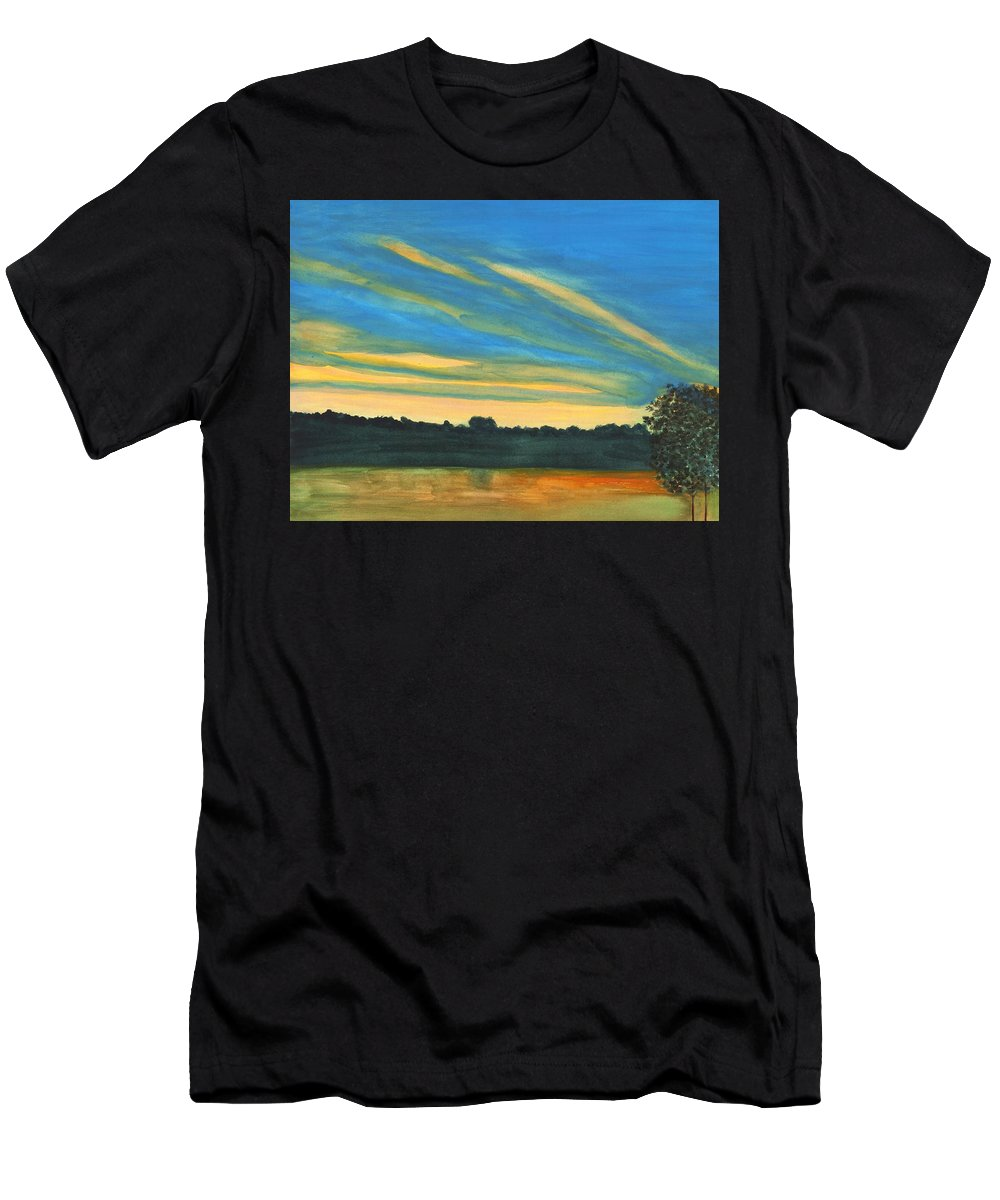 Ohio River Men's T-Shirt (Athletic Fit) featuring the painting Wheeling Waterfront by David Bartsch